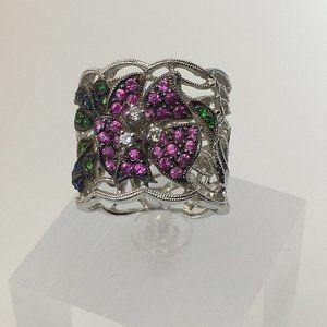 18K White Gold Emerald, Diamond, Sapphire Floral R